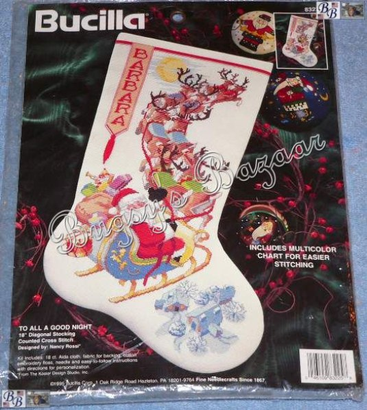 Details about Bucilla TO ALL A GOOD NIGHT Counted Cross Stitch Christmas Stocking Kit -N Rossi